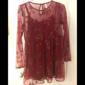 Red Floral Embroidered Long Sleeve Dress & Slip